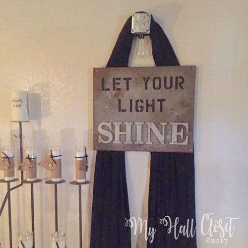 Let your light shine industrial look art