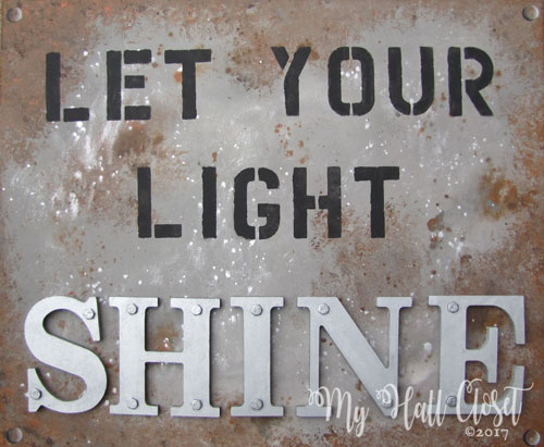 Industrial Look Art – Let Your Light Shine Sign for a Men's Prayer Room