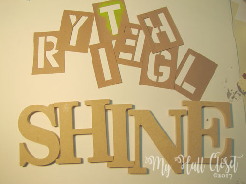 Stencils and wood cut out letters