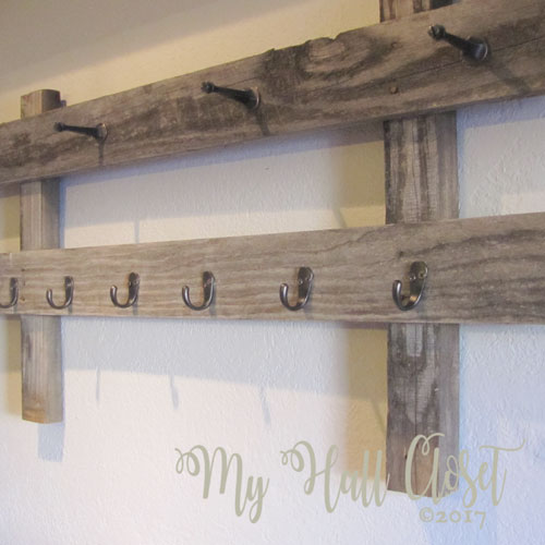 Rustic coffee cup rack in place