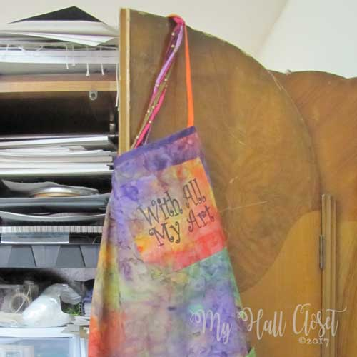 apron in the studio hanging on the door