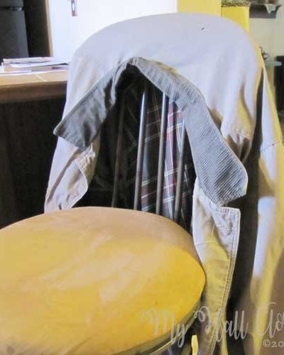 Joe's coat on the bar stool