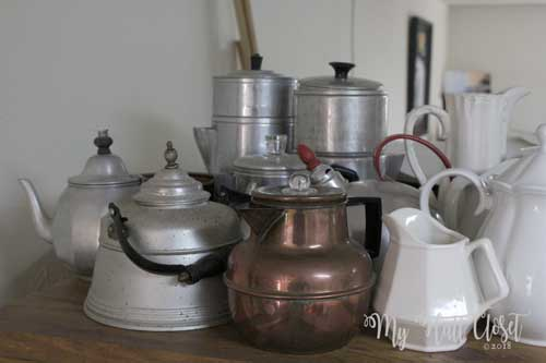 clutter and collections of pots