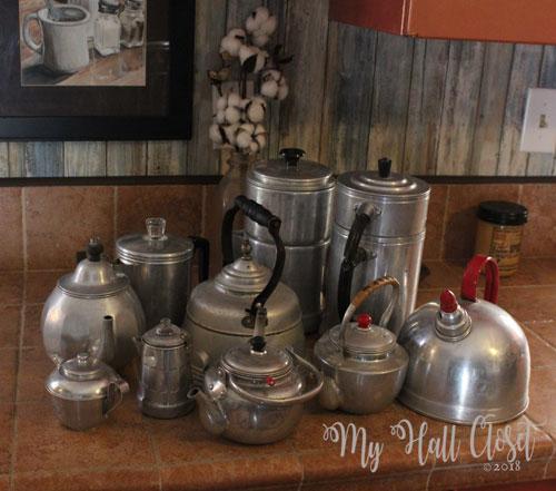 Aluminum pots collection rearranged