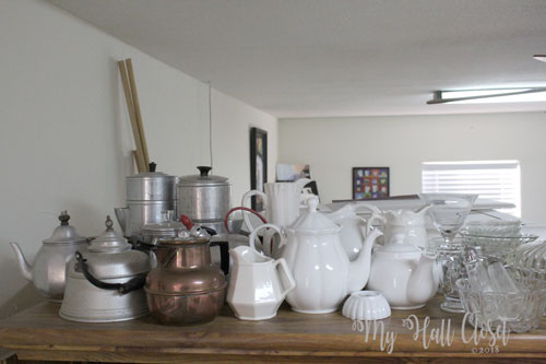 Clutter and collections teapots and glass
