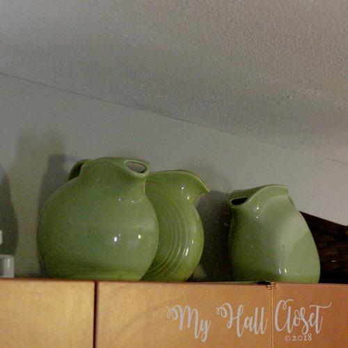 Vintage green ceramic pitchers