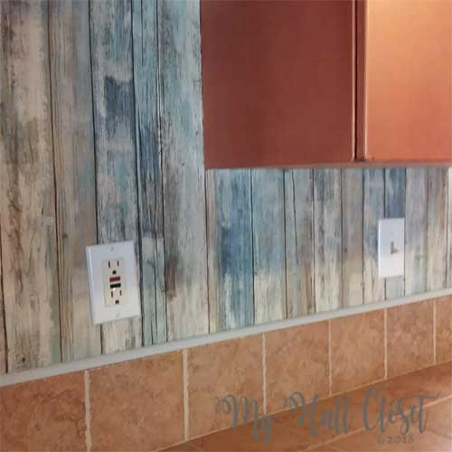 Faux distressed wood backsplash