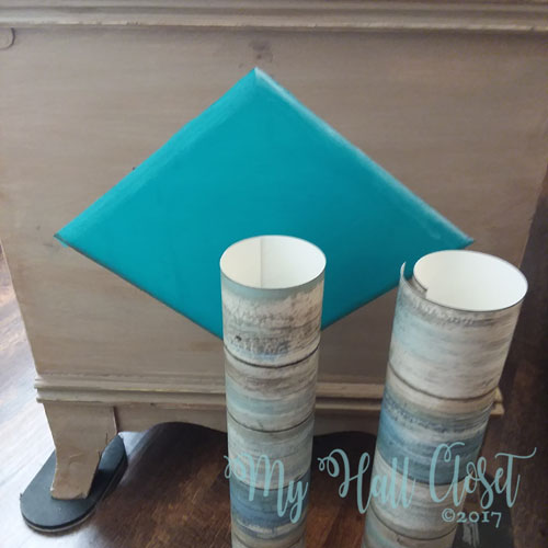 A Quick and Easy Face-Lift For an Old Cedar Chest with RoomMates Distressed wood wallpaper