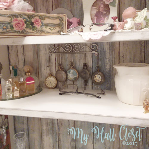 closet and distressed wallpaper. Fast and easy project