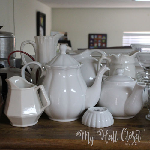 White teapot collection