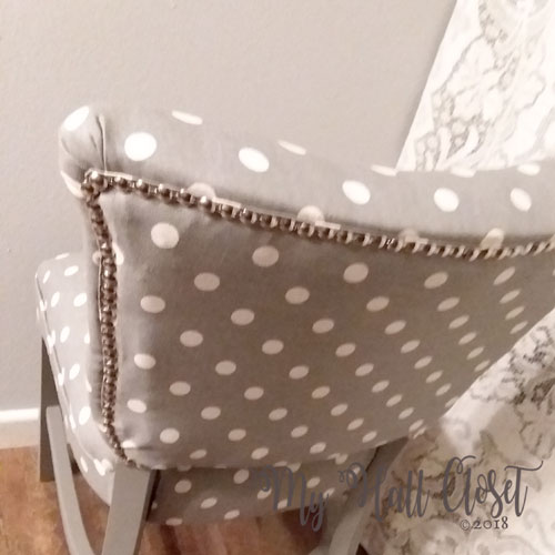 old chair new fabric and nail head trim