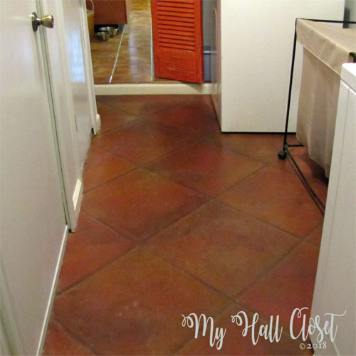Faux Tile Floor Finish 10 years later after cleaning and finish