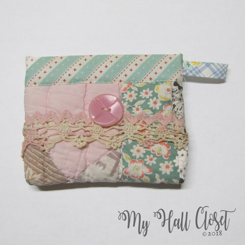 quilt snappy bag multi with pink button