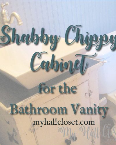Shabby chippy cabinet used for bathroom vanity