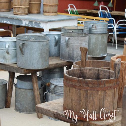 Wooden bucket and Metal buckets