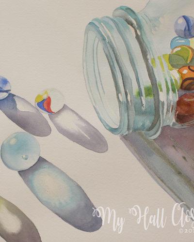 Jar of marbles watercolors progress