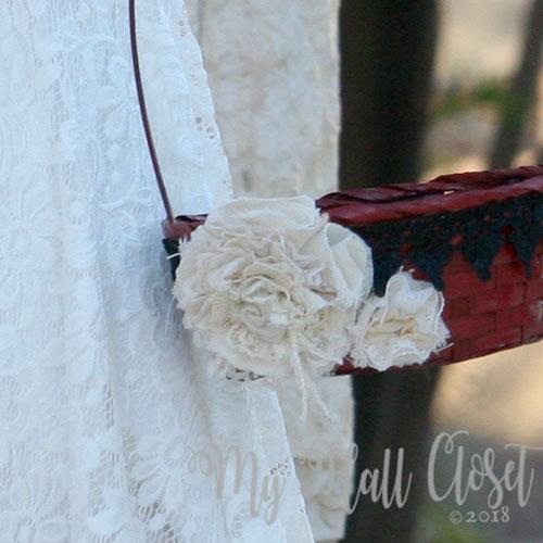flower girl basket with shabby flowers