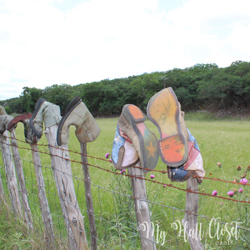 Highway 39 boots on barbed wire