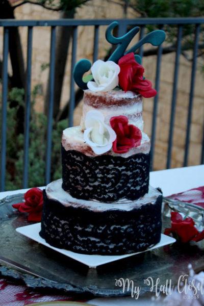 black lace wedding decorations naked cake with black lace