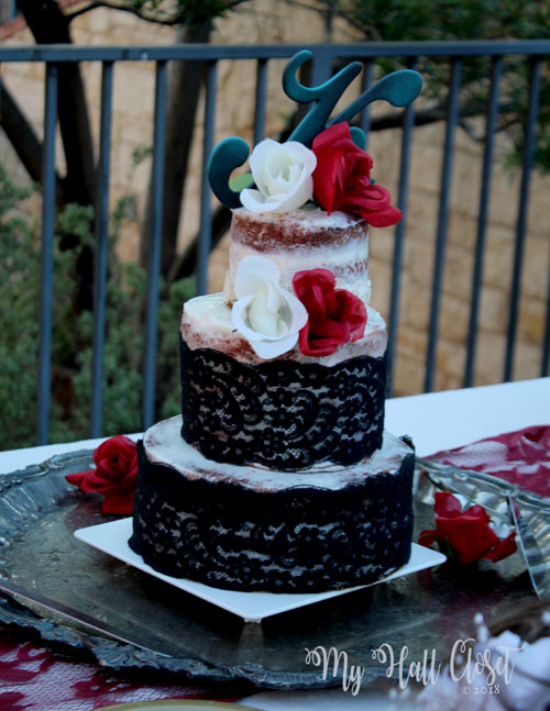 black lace wedding decorations naked cake with black lace