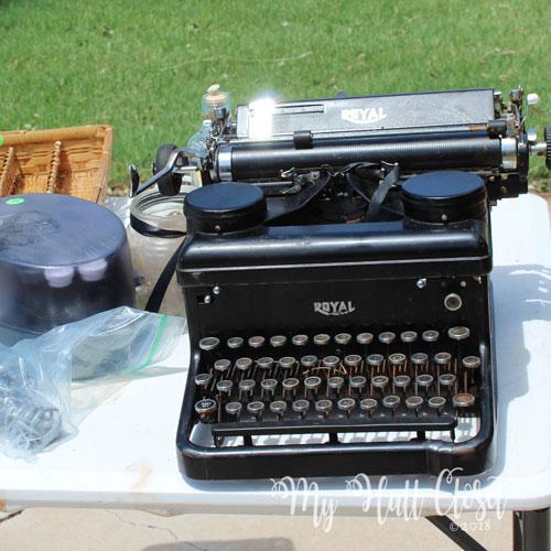 vintage typewriter at garage sale