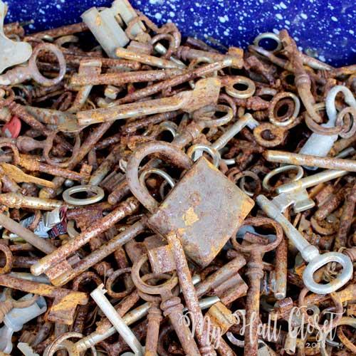 rusty keys and one lock