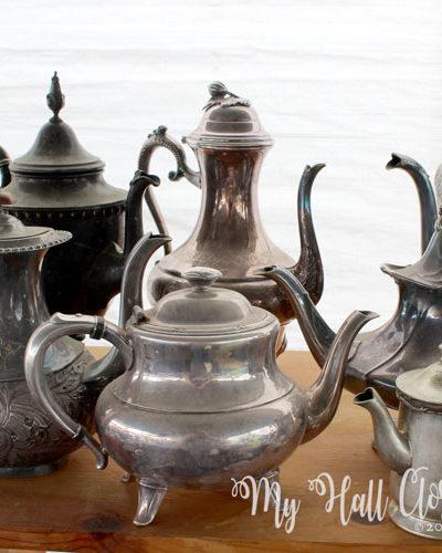 vintage silver teapots