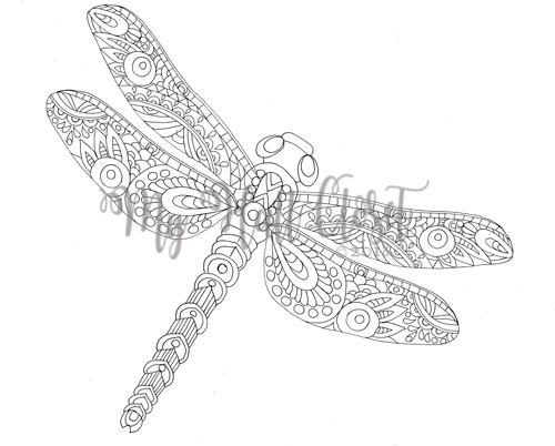 Dragonfly Color by Number Coloring Page - Twisty Noodle | 402x500
