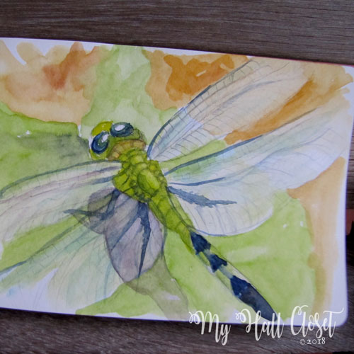 dragonfly watercolor painting by Nathalie