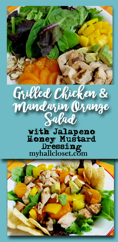 Grilled Chicken mandarin orange salad with jalapeno honey mustard dressing