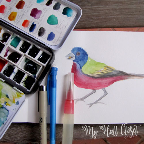 Watercolor painted painted bunting
