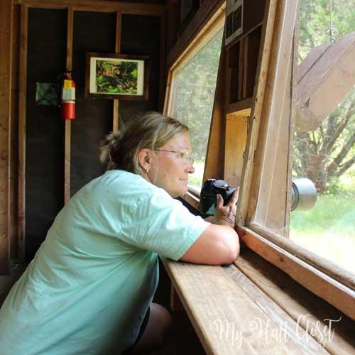 temi in the bird hut at Lost Maples