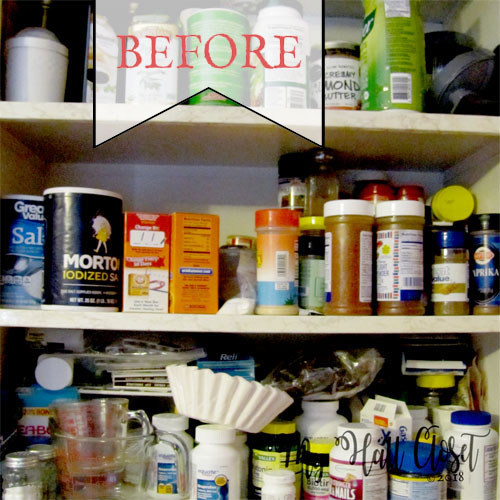 how to organize your spice cabinet - before