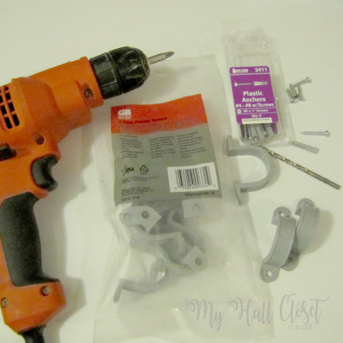 equipment needed - drill, plastic straps inserts and screws
