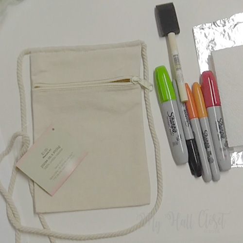 Canvas Crossbody Bag and supplies