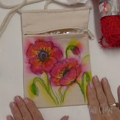 Sharpie and Alcohol ink Poppy Crossbody Bag Finished