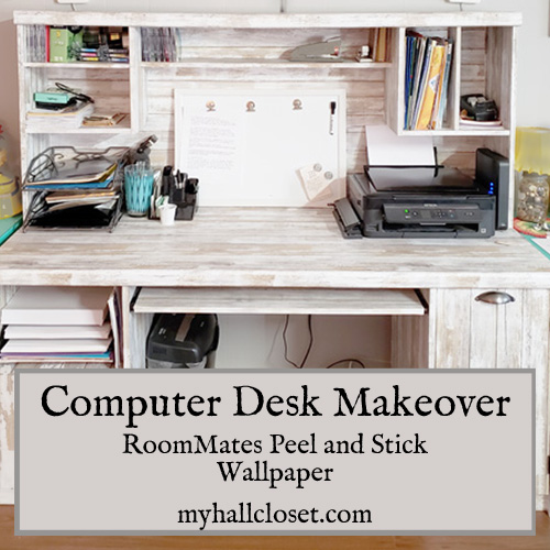 Computer Desk Makeover using Roommates Peel and stick Wallpaper