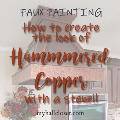 Faux hammered copper stencil feature