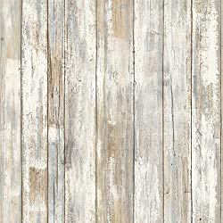 RoomMates white distressed wood peel and stick wallpaper