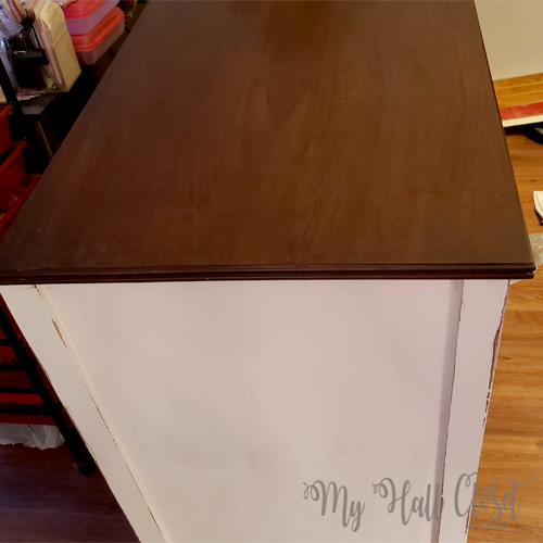 Vintage buffet top is finished with gel stain and polycrylic
