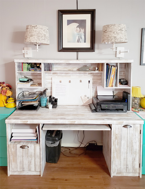 Desk Makeover Using RoomMates Peel and Stick Wallpaper