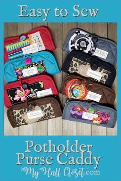 Easy to Sew Embellished Potholder Purse Caddy