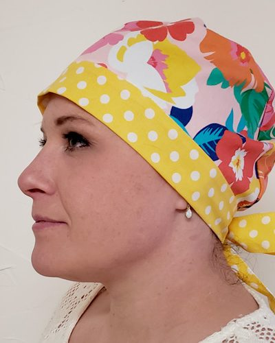 2 Color Scrub Cap Pattern for Short Hair