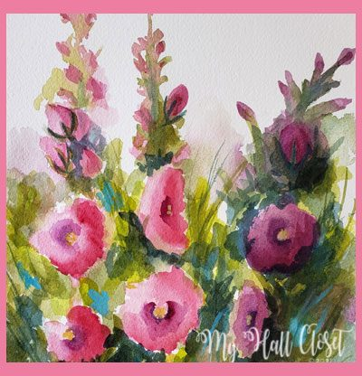 Hollyhocks Nathalie Kelley watercolor