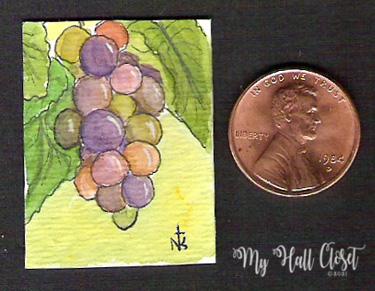 Tiny Art Grapes Nathalie Kelley watercolor